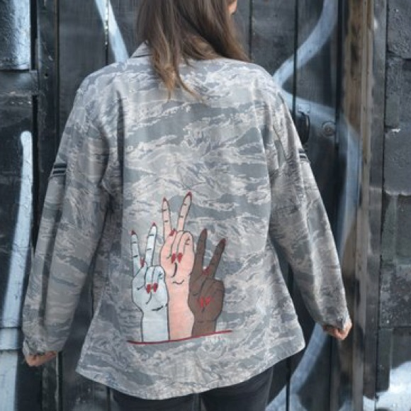 EQUALITY hand painted army jacket